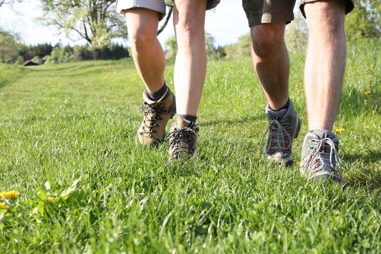 Beine zweier Wanderer mit Wanderschuhen