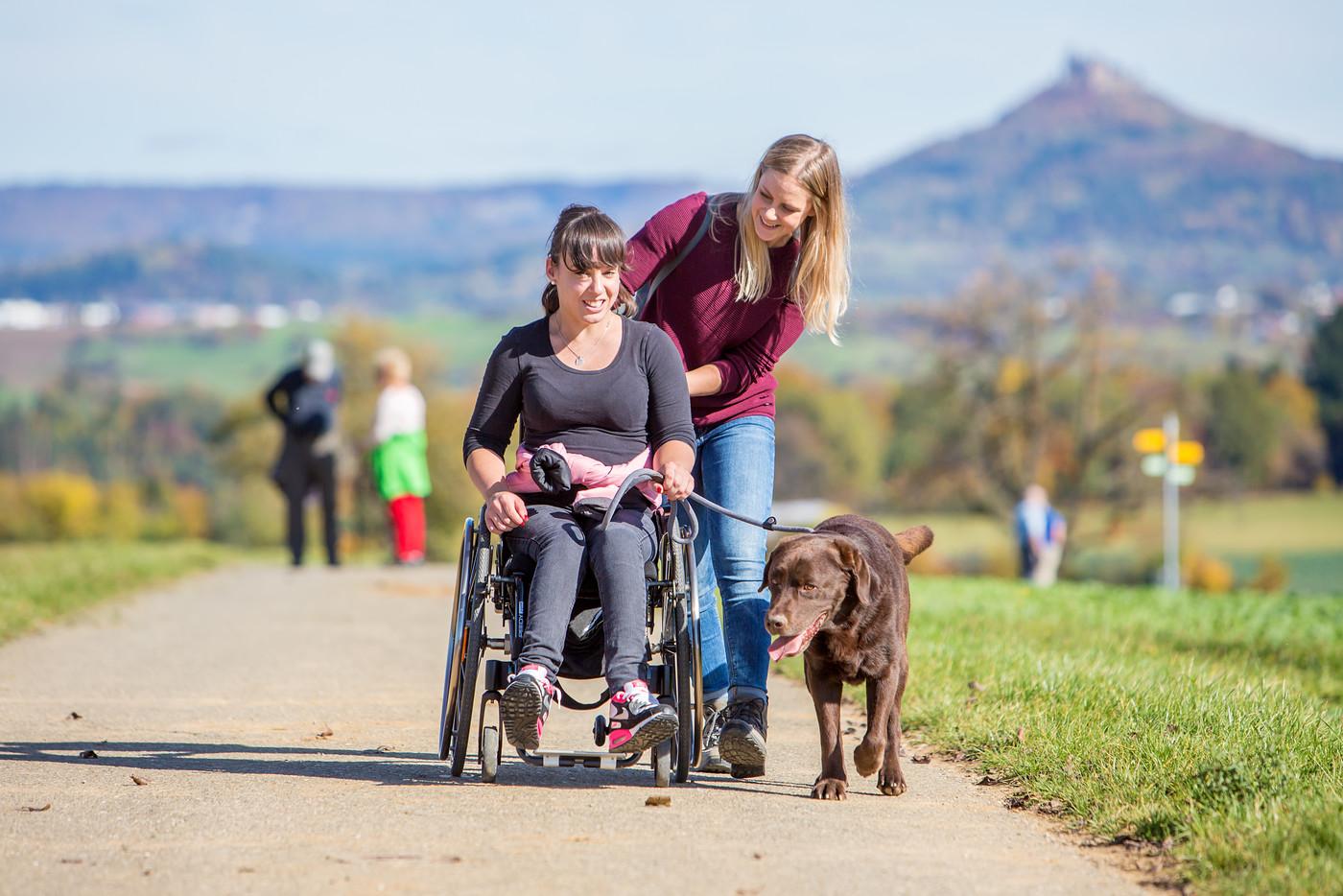 Rollstuhlfahrer mit Hund und Begleitperson, Burg Hohenzollern im Hintergrund