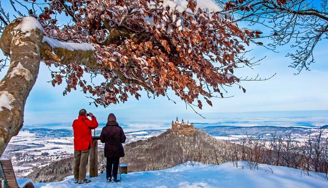 Blick vom Zeller Horn auf die Burg Hohenzollern im Winter